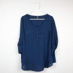 Torrid | Dark Blue Button Down Blouse